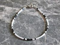 Dainty Black & White Seed Bead Holiday Anklet   Silver Sensations